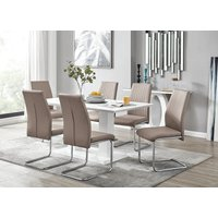 Imperia White High Gloss Dining Table And 6 Cappuccino Grey Lorenzo Dining Chairs Set - FURNITUREBOX UK