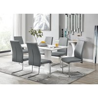 Imperia White High Gloss Dining Table And 6 Elephant Grey Lorenzo Dining Chairs Set