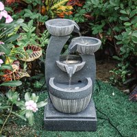 In/Outdoor Water Fountain Feature LED Lights Garden Statues Decor Electric Powered