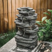 Electric Garden Water Feature Fountain LED Lights Stones Statue Ornament Cascade