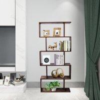 Industiral Wooden Bookcase, 5-Tier Display Shelf and Room Divider, Freestanding Storage Shelving Bookshelf, Vintage Color