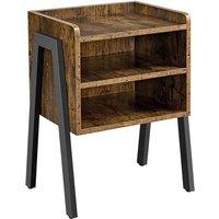 Industrial 3-Tier Nightstand Stackable Bedside Table with Metal Frame for Bedroom/Living Room Entryway, Rustic Brown