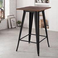 Livingandhome - Square Breakfast Bar Table Kitchen Dining Room Metal Bistro