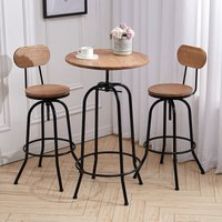 2 Bar Stools Vintage Height Adjustable Industrial Bistro Kitchen Counter Bar Stool Chair