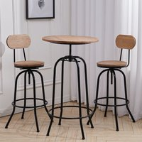 Industrial Breakfast Bar Stool Table Set and 2 Wood Chairs Kitchen Bistro Cafe