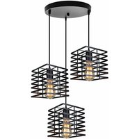 Industrial Chandelier 3 Lights Hanging Light Square Vintage Pendant Light Rustic Metal Ceiling Lamp for Loft Cafe Dining Indoor Decoration Black