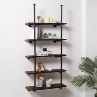 Industrial DIY Iron Pipe Shelf Wall-Mounted Bookshelf, 5.5 Tier With 5 Planks - LIVINGANDHOME