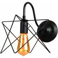 Industrial Iron Wall Light Creative Black Cage Wall Lamp Retro Star Shape Wall Light E27 Socket - AXHUP
