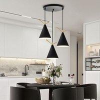 Industrial Modern Pendant Light 3 Lights E27 Base Retro Design Ceiling Lamp Metal Lampshade Ac 100-240V-Black