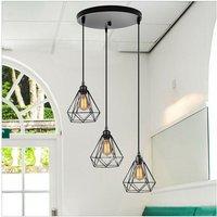 Industrial Pendant Light Black Retro Ceiling Lamp Metal 3 Lights Pendant Lamp Vintage Chandelier Ø20CM Diamond Hanging Light