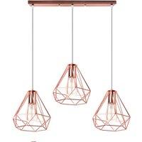 Industrial Pendant Light Modern Ceiling Light Vintage Chandelier Metal Iron Lamp Shade Ø20CM 3 Lights Diamond Hanging Light Rose Gold