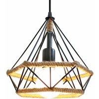 Industrial Pendant Light Retro Chandelier Diamond Cage Hanging Light E27 25CM Hemp Rope Ceiling Lamp Vintage Pendant Lamp