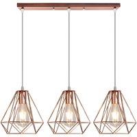 Industrial Pendant Light Rose Gold Retro Ceiling Light Vintage 3 Lights Chandelier Ø20CM Diamond Hanging Light Metal Iron Lamp Shade