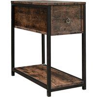 Industrial Slim Sideboard Deep Sofa Side Table Bedside Stand with Large Drawer