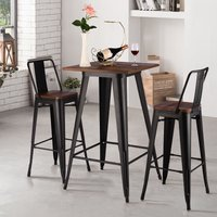 Livingandhome - Industrial Style Metal High Table Kitchen Breakfast Bar Bistro Stools