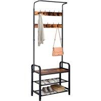 Industrial Vintage Coat Rack Shoe Bench, Hall Tree Entryway Storage Shelf, 3 in 1 Design - TALKEACH