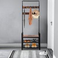 Industrial Vintage Coat Rack Shoe Bench, Hall Tree Entryway Storage Shelf, 3 in 1 Design