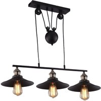 Industrial Vintage Pendant Light Retro Pulley Pendant Lamp Rise and Fall Hanging Light E27 Black Creative Chandelier Metal Lampshade
