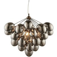 Endon Lighting Infinity - Pendant Black Chrome Effect Plate and Smokey Mirror Effect Tinted Glass 6 Light Dimmable IP20 - G9