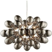 Endon Lighting Infinity - Pendant Black Chrome Effect Plate and Smokey Mirror Effect Tinted Glass 8 Light Dimmable IP20 - G9