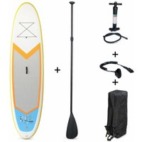 Alices Garden - Inflatable Stand Up Paddle Board - Nico 99 - 15cm thick (SUP) with double action high pressure pump, paddle, leash and carry bag