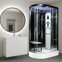 Insignia Black Steam RH Shower Cabin Cubicle Enclosure 1100x700 Body Jets Audio