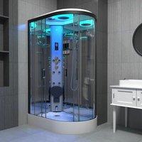 Insignia Black Steam Shower Cabin Enclosure Cubicle 1100x700 Offset LH Quadrant