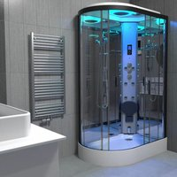 Insignia Black Steam Shower Cabin Enclosure Cubicle 1100x700 Offset RH Quadrant