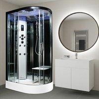 Insignia Black Steam Shower Cabin Enclosure Cubicle 1100x700 Platinum Range Jets