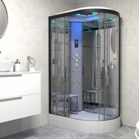 Insignia Platinum Non Steam Shower Cabin Enclosure LH Offset Quad Black/Clear