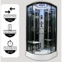 Insignia ® - Insignia Platinum Tri Steam Shower Cabin Enclosure Quadrant 1000mm Black/Clear