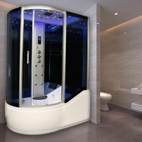 Insignia Steam Shower/Bath Cabin 1700x900mm RH Quadrant Body Jets Audio Chrome