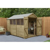 INSTALLED 10ft x 6ft Pressure Treated Overlap Apex Wooden Garden Shed - Double Doors (3.1m x 1.9m) - Modular - INCLUDES INSTALLATION (CORE)