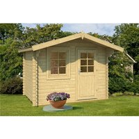 Clifton Log Cabins - INSTALLED 2.9m x 2.2m Budget Apex Log Cabin (220) - Single Glazing (28mm Wall Thickness)