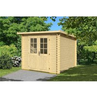 INSTALLED 2.9m x 2.9m Budget Apex Log Cabin - Pent (232) - Single Glazing (28mm Wall Thickness) - CLIFTON LOG CABINS