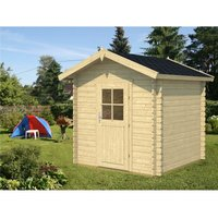 INSTALLED 2m x 2m Budget Apex Log Cabin (203) - Single Glazing (28mm Wall Thickness)