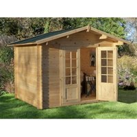 Worcester Log Cabins(f) - INSTALLED 3.0m x 2.5m Log Cabin With Double Doors - 28mm Wall Thickness **Includes Free Shingles** INSTALLATION INCLUDED