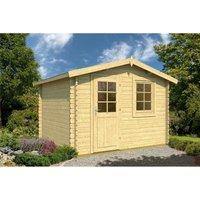 INSTALLED 3.5m x 2.5m Budget Apex Log Cabin (207) - Single Glazing (28mm Wall Thickness)
