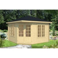 Clifton Log Cabins - INSTALLED 3.5m x 3.5m Budget Apex Log Cabin - Corner (221) - Double Glazing (40mm Wall Thickness)