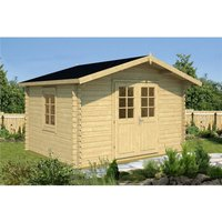 Clifton Log Cabins - INSTALLED 3.5m x 3m Budget Apex Log Cabin (202) - Single Glazing (28mm Wall Thickness)
