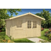 Clifton Log Cabins - INSTALLED 3.6m x 3m Budget Apex Log Cabin (215) - Double Glazing (40mm Wall Thickness)