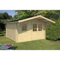 Clifton Log Cabins - INSTALLED 3.8m x 3.2m Budget Apex Log Cabin (213) - Double Glazing (40mm Wall Thickness)