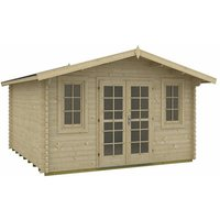INSTALLED 3.8m x 3.8m Budget Apex Log Cabin (214) - Double Glazing (40mm Wall Thickness)