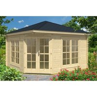 INSTALLED 3m x 3m Budget Apex Log Cabin - Corner (228) - Double Glazing (40mm Wall Thickness) - CLIFTON LOG CABINS
