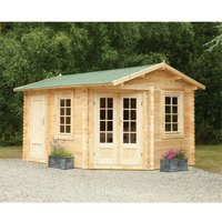 Worcester Log Cabins(f) - INSTALLED 4.0m x 2.8m Unique Log Cabin With Glazed Double Doors (LEFT) - 34mm Wall Thickness **Includes Free Shingles**