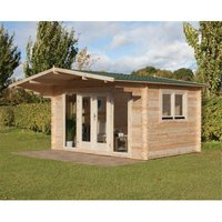Worcester Log Cabins(f) - INSTALLED 4.0m x 3.0m Apex Contemporary Log Cabin With Double Doors - 34mm Wall Thickness **Includes Free Shingles**