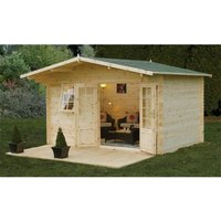 Worcester Log Cabins(f) - INSTALLED 4.0m x 3.0m Classic Apex Log Cabin With Double Doors - 34mm Wall Thickness **Includes Free Shingles**