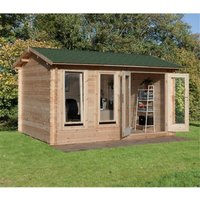 Worcester Log Cabins(f) - INSTALLED 4.0m x 3.0m Log Cabin With Double Doors - 34mm Wall Thickness **Includes Free Shingles** INSTALLATION INCLUDED