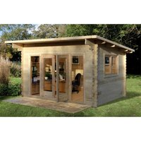 Worcester Log Cabins(f) - INSTALLED 4.0m x 3.0m Pent Stylish Log Cabin With Glazed Double Doors - 44mm Wall Thickness **Includes Free Shingles**