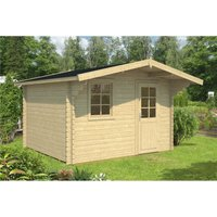 Clifton Log Cabins - INSTALLED 4.3m x 2.6m Budget Apex Log Cabin (212) - Double Glazing (40mm Wall Thickness)